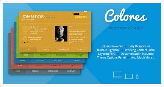 Colores - Responsive WordPress vCard