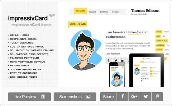 impressivCard WP - Responsive HTML5 vCard
