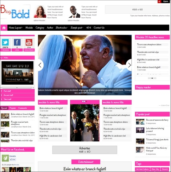Blogbold is responsive WordPress theme suite for blog, magazine and web news