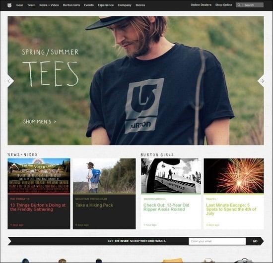 Burton is a responsive e-commerce site