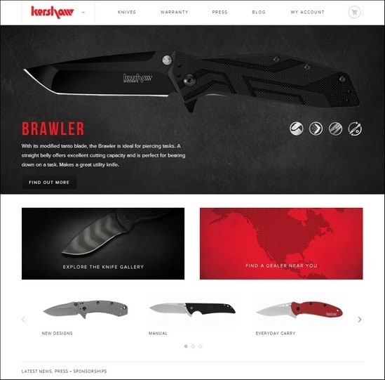 Kershaw is a responsive e-commerce site with unique way of image slideshow
