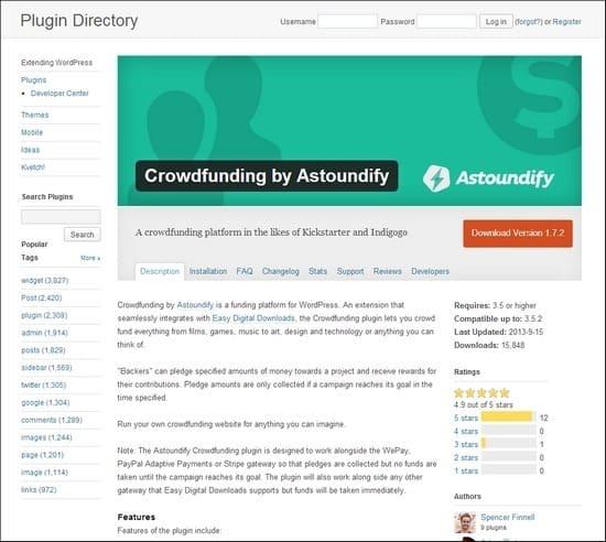Crowdfunding by Astoundify is a funding platform for WordPress.