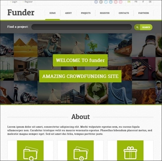 Funder is crowdfunding WP theme using a powerful Bootstrap framework.
