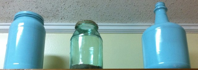 I added some spray painted jars with the tinted jars I made earlier.