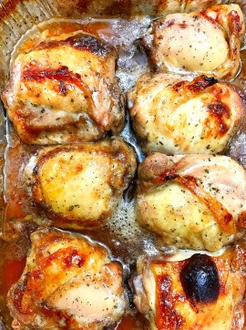 These baked chicken thighs are super easy and only three ingredients.