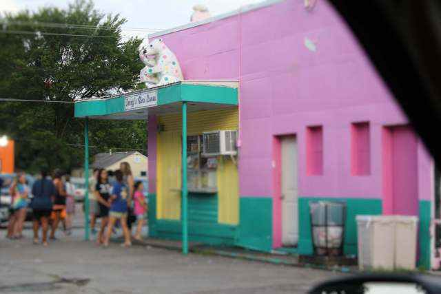 People seem to enjoy gathering together at Jerry's Sno Cones.