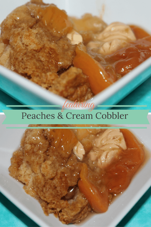 I need to make this Peaches & Cream Cobbler right now!