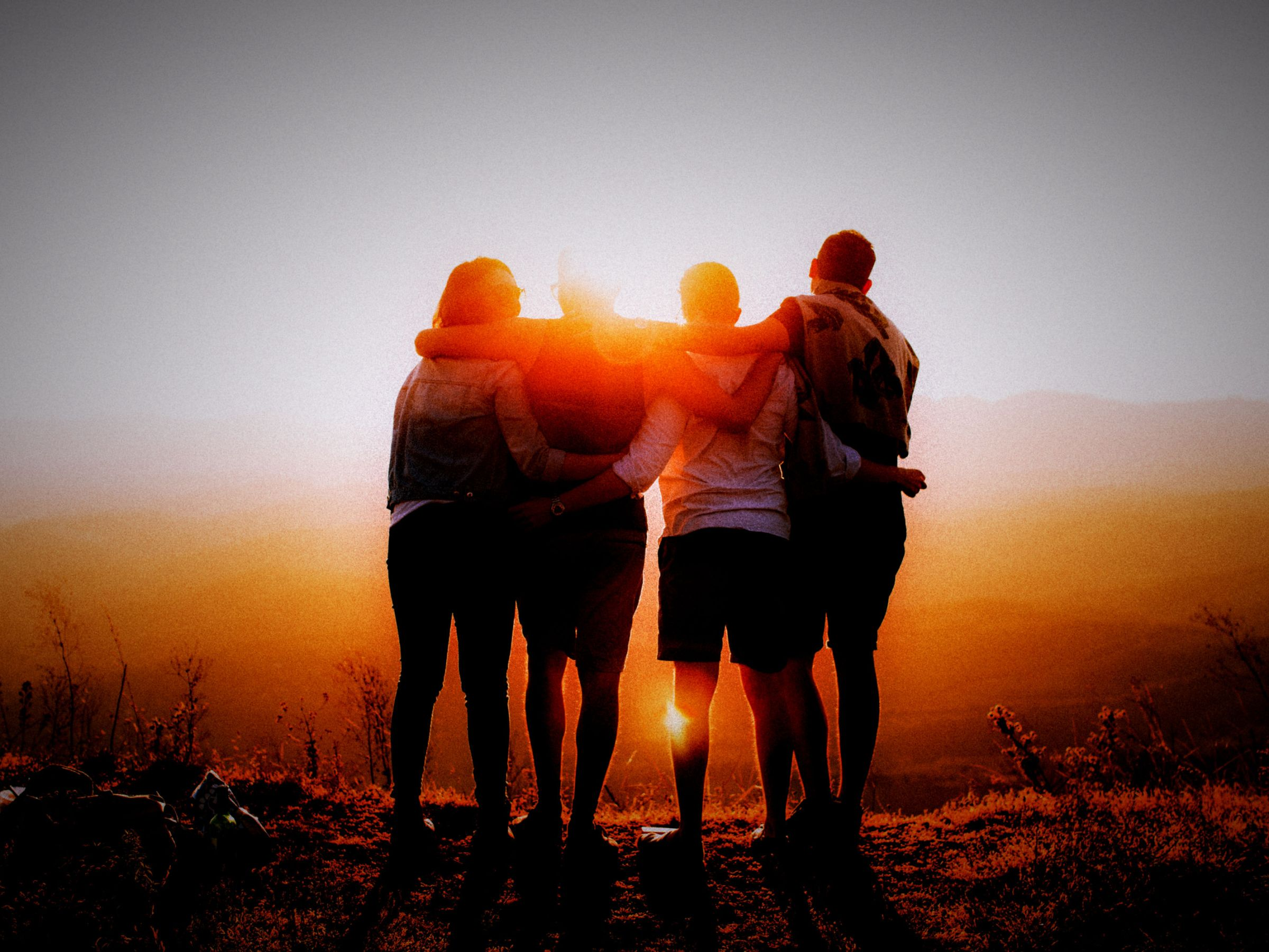 group hug at dawn