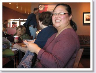 This was Nicole's first visit with us. We hope she had fun! She's working on a prayer shawl.