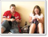 Knitters in the Stitch n Pitch conference room. That's Jane, a Rav friend on the left.