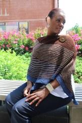Carolyn models my knitting.