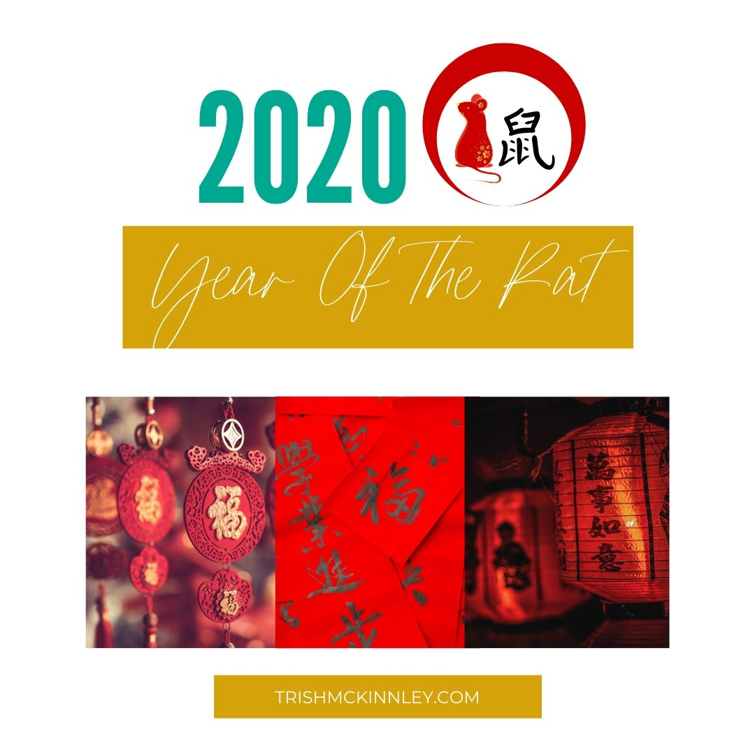 Chinese new year symbols with title overlay: '2020 Year of the Rat'