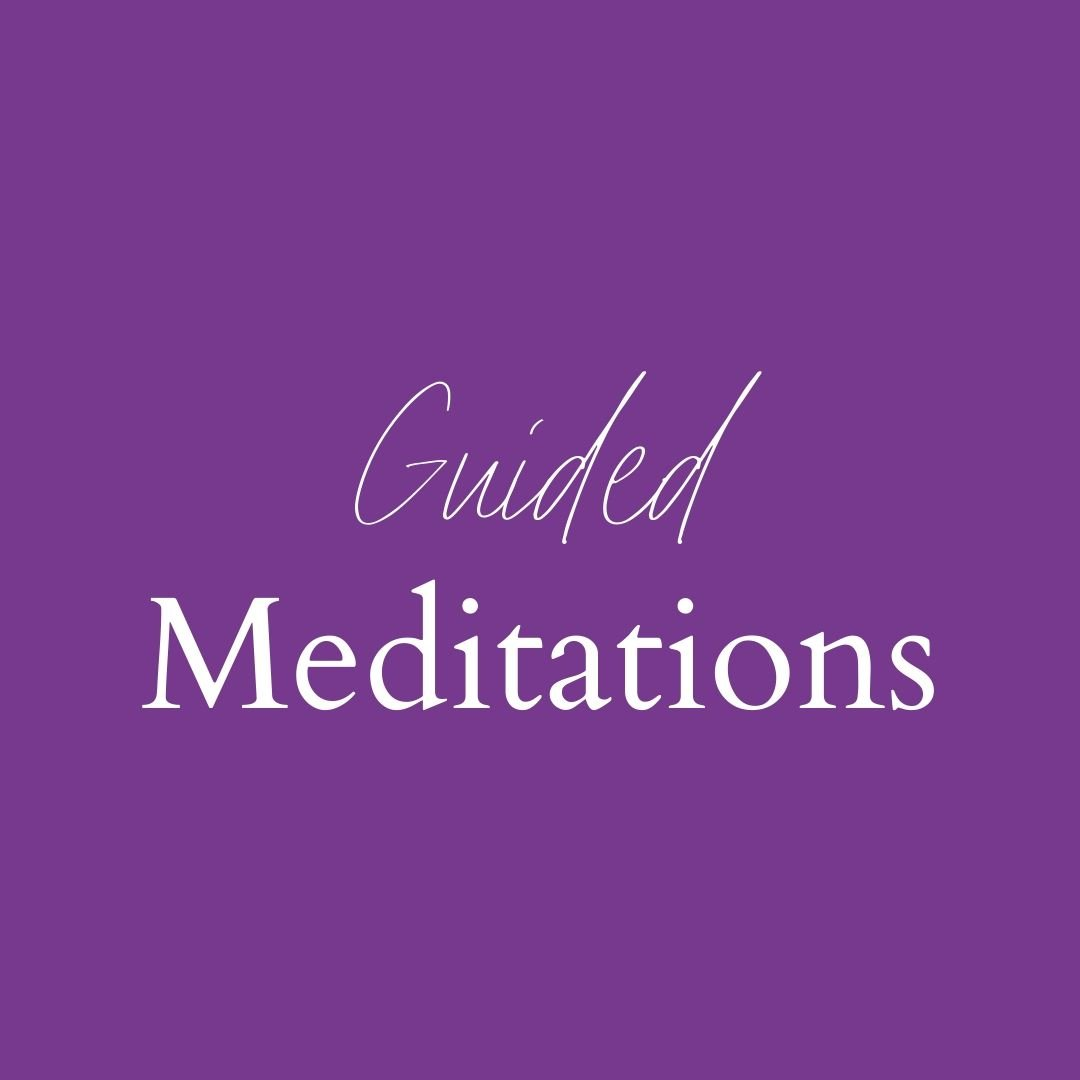 "purple square with words ""guided meditations"""