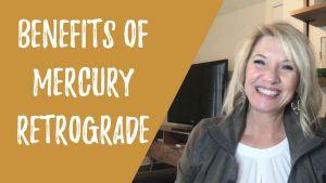 Trish McKinnley smiling with 'Benefits of Mercury Retrograde' written beside her