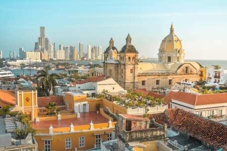 L'un des plus beaux points de vue de Carthagène, la vue depuis l'hôtel Movich à Carthagène en Colombie