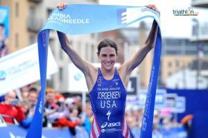 Gwen Jorgensen, campeã da WTS Leeds após grande prova na etapa de corrida. Foto: ITU Mídia