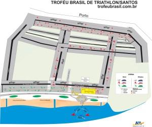 Mapa do percurso da terceira etapa, que ocorre em Santos, no dia 26/06 (Foto: NA Sports/SantosPress Divulgação)