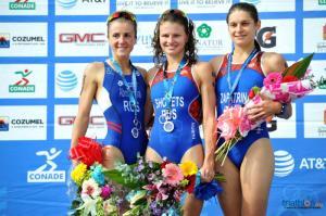 O pódio feminino do Mundial de Aquathlon. Foto: ITU Mídia.