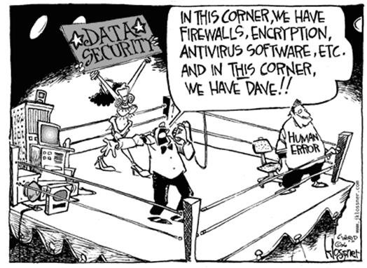 Data security vs. the people (in a ring). Cybersecurity vs the people (in a ring).