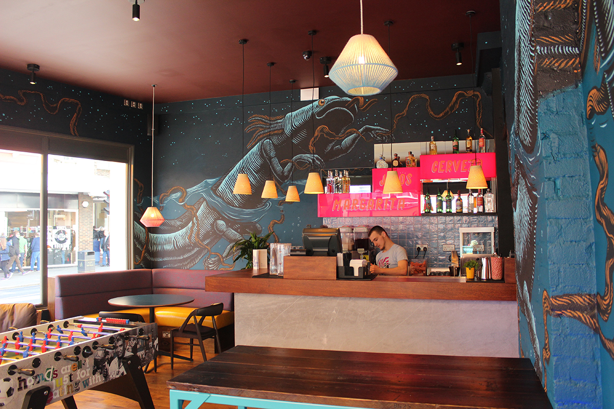 Wahaca Brighton restaurant design, Mexican Art installation