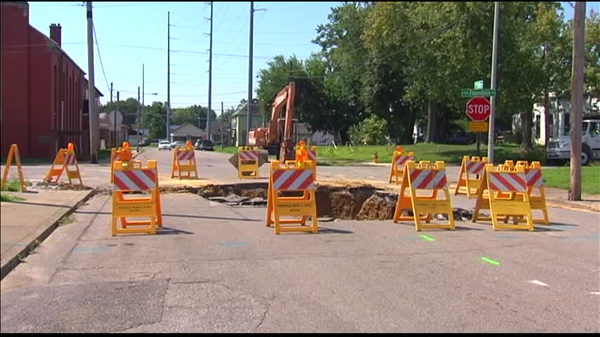 Clay Line Collapses- Causes Sinkhole in Evansville_60065922
