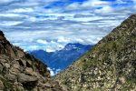 Clouds and holy ManiMahesh Peak on Chamba Side as seen from trail to Lam Dal