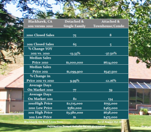Blackhawk Real Estate Market Year Over Year Report through August