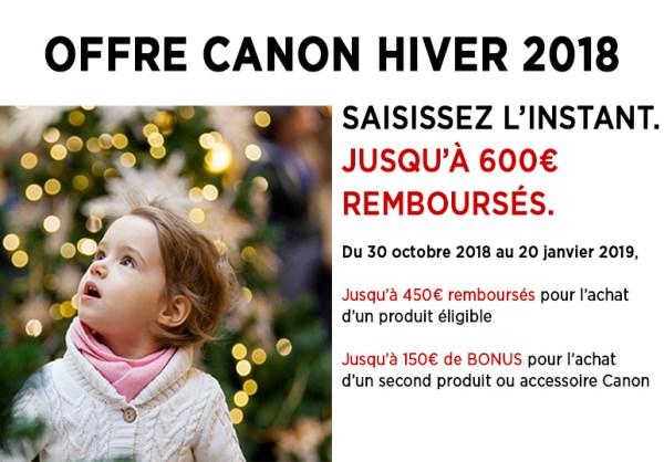 ptofitez de l'offre Canon Hiver 2018