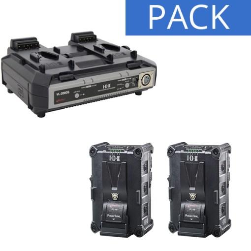 IDX 2 Batteries IPL-98 & Chargeur VL-2000S - Kit Batteries et Chargeur
