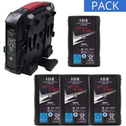 IDX 4 Batteries CUE-D300 & Chargeur VL-4X 2+2 - Kit Batteries et Chargeur