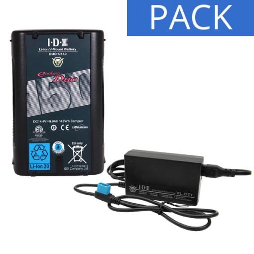 IDX Batterie DUO-C150 & Chargeur VL-DT1 - Kit Batterie et Chargeur