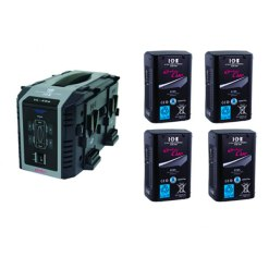 IDX EC-95/4Se Kit 4 Batteries CUE-D95 & Chargeur VL-4Se - Kit Batteries et Chargeur