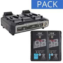 IDX 2 Batteries Endura DUO-C98 & Chargeur VL-2000S - Kit Batteries et Chargeur