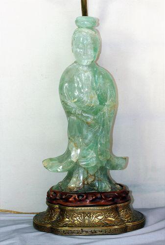 Chinese Green Quartz Guan Yin Figure Lamp 19th C Item