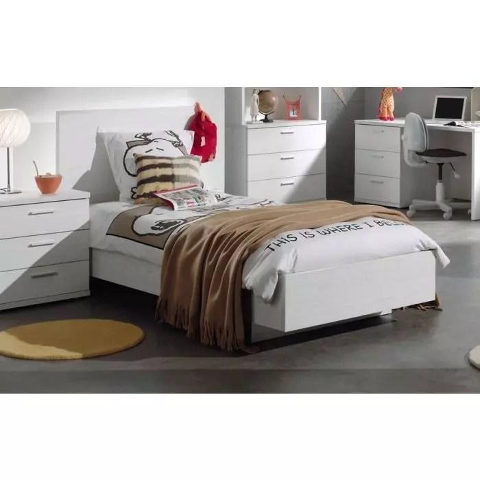 lit simple enfant avec tete de lit chene blanc helgy