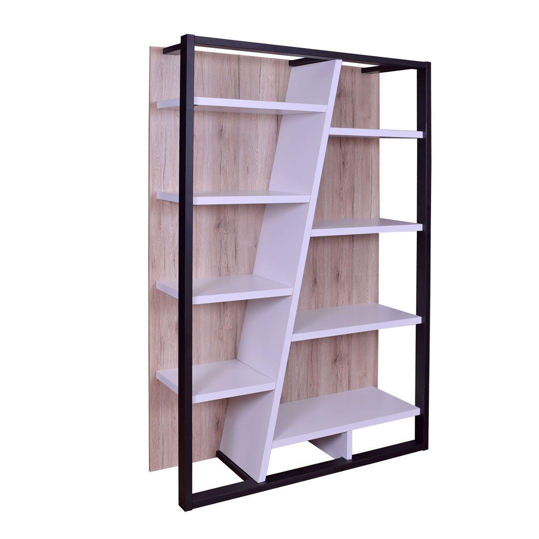bibliotheque design 8 tablettes blanc bois et noir praia