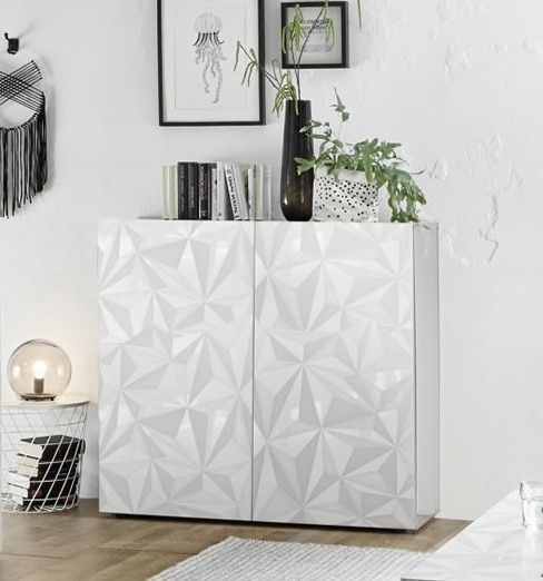 meuble de rangement design serigraphie 2 portes laque brillant palerme blanc