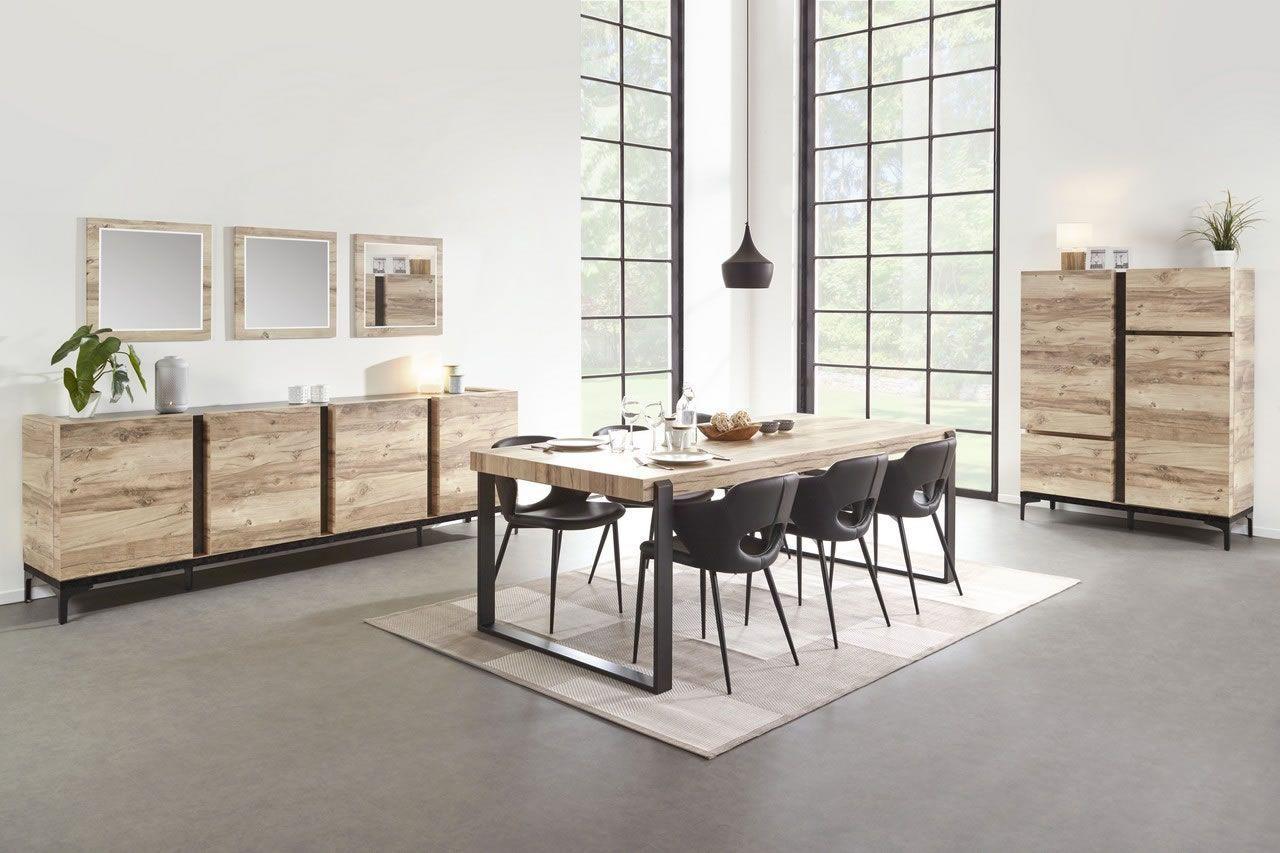 salle a manger complete industriel buffet 250 cm bois et metal barosse