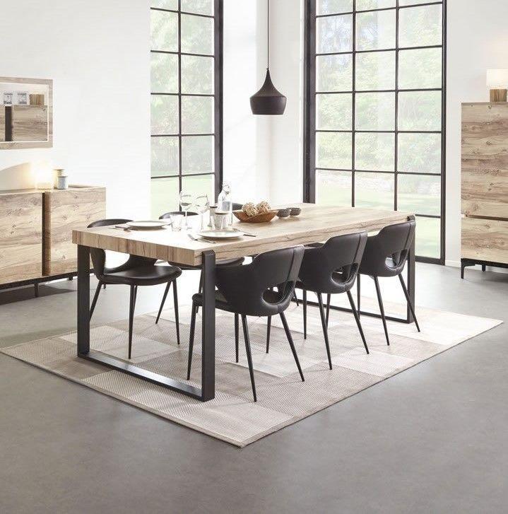 table de salle a manger design industriel 160 pieds metal barosse