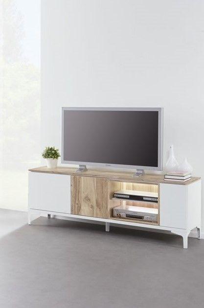 meuble tv 158 cm 3 portes 2 niches blanc et bois naturel vorane