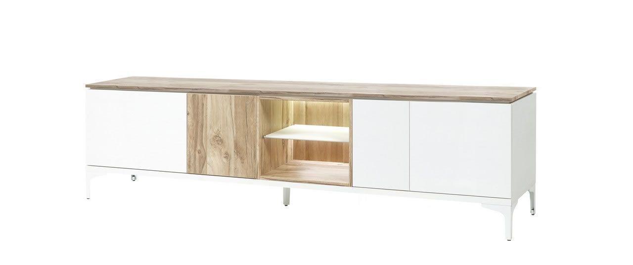 meuble tv 205 cm 4 portes 2 niches blanc et bois naturel vorane