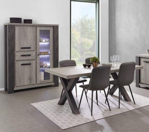 salle a manger moderne vaisselier a led chene gris lionel