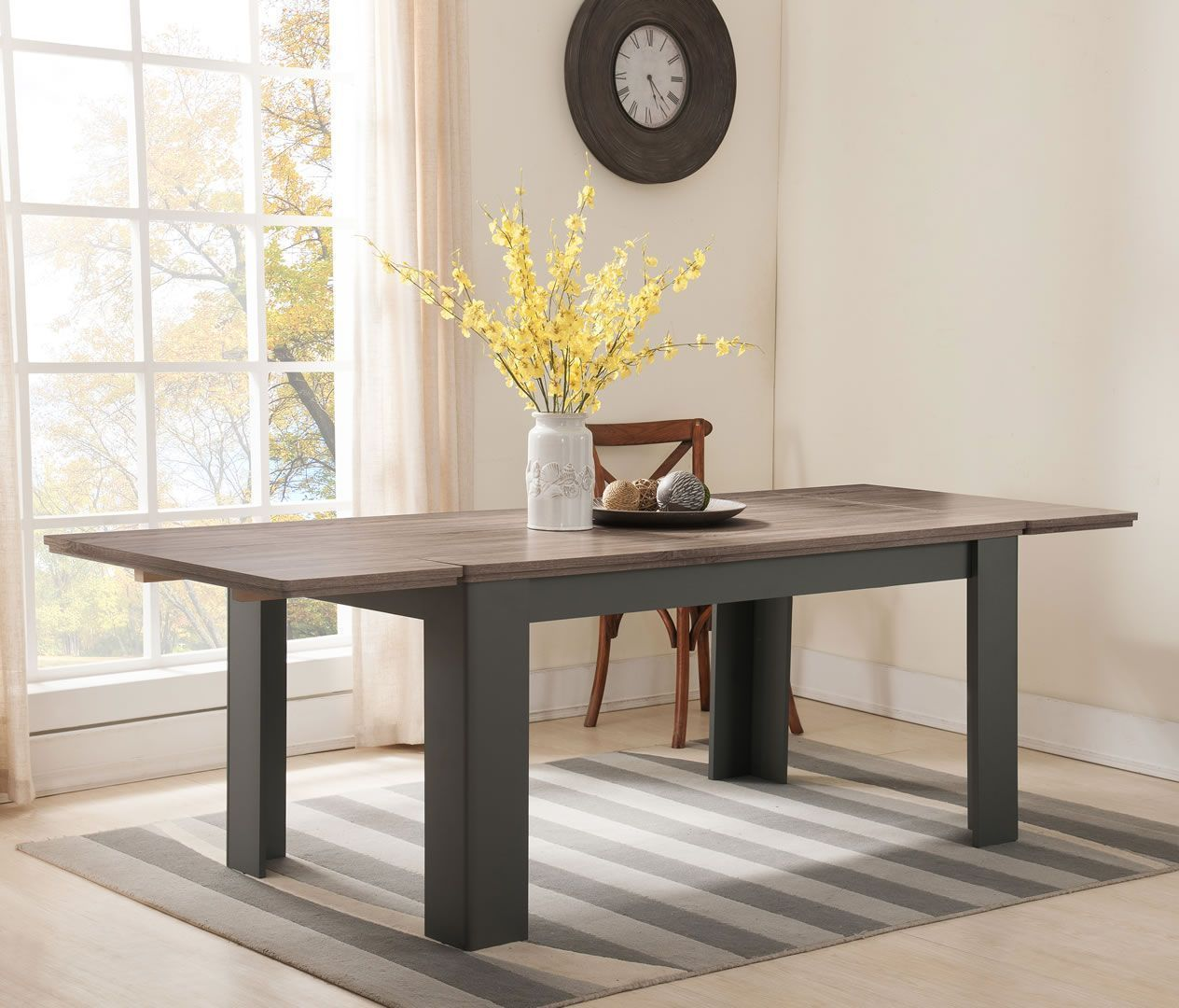 table de salle a manger avec allonges 160 a 239 cm syde taupe et chene