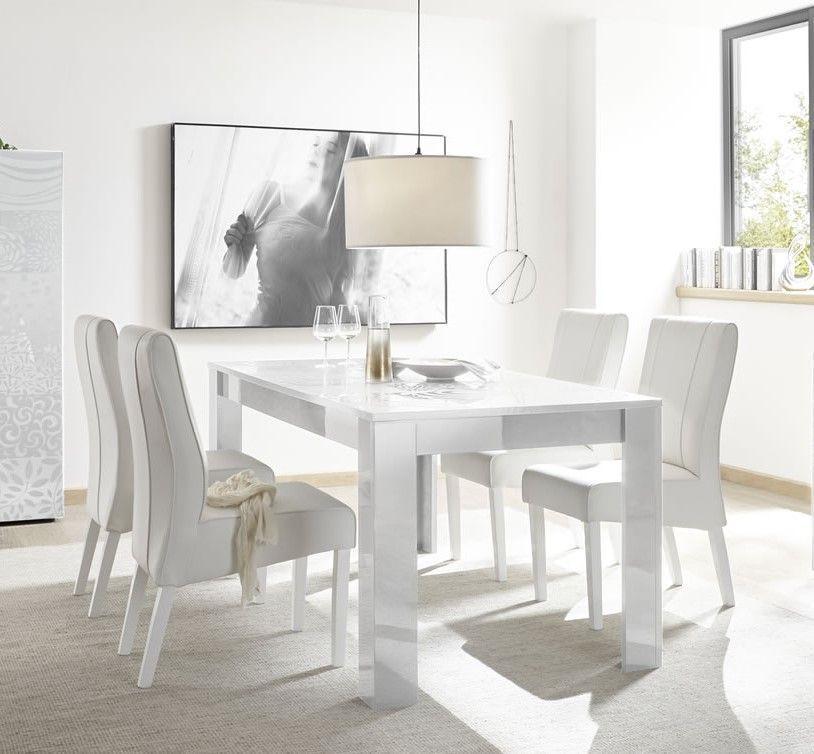 table de salle a manger design avec serigraphies blanc laque brillant venise 180 cm