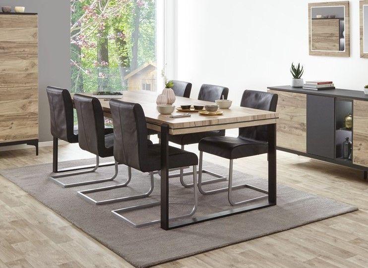 table de salle a manger industriel 180 cm chene et noir mat kniks