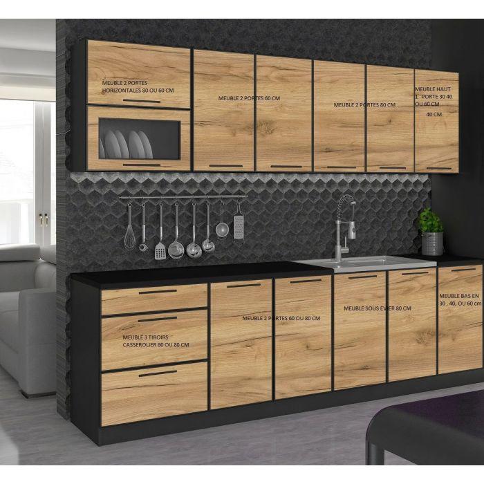 meuble bas de cuisine 2 portes 80 cm noir et bois mexique
