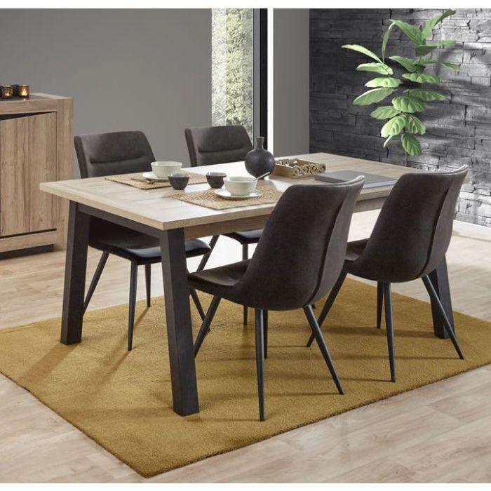 table de salle a manger avec allonge contemporain chene et noir mandela