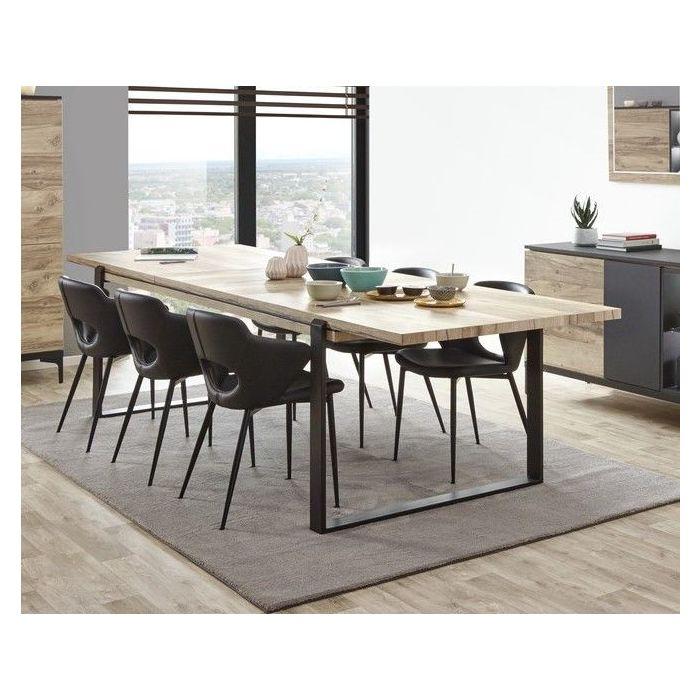 table de salle a manger avec allonge 225 a 295 cm chene et noir mat kniks