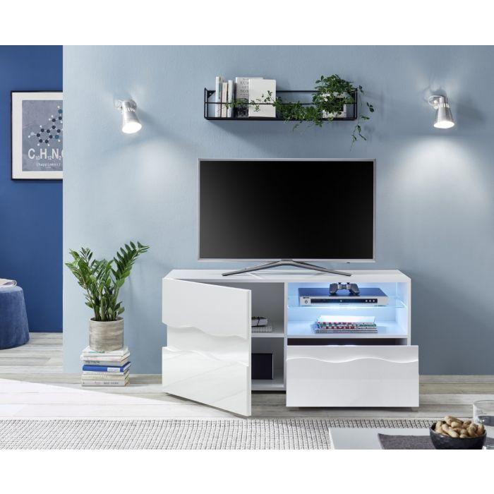 meuble tv laque blanc brillant 122 cm terre