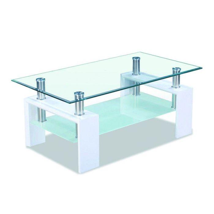 table basse en verre burgos blanc laque